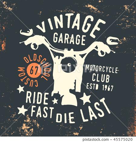 Motorcycle club - vintage garage t shirt print stamp 45575020