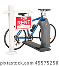 Bicycle rental concept. Sign for rent with bike 45575258