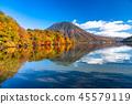 """""""栃木縣""""秋天的陽光,Mancho山和Haccho dejima的秋葉""""從中禪寺湖"""" 45579119"""