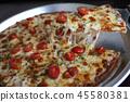 Pizza cherry tomato on wood background 45580381