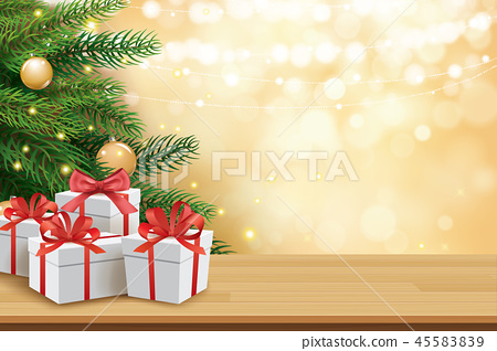 Christmas greeting card with gifts boxes on table 45583839