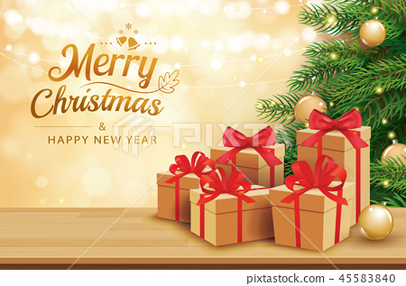 Christmas greeting card with gifts boxes on table 45583840