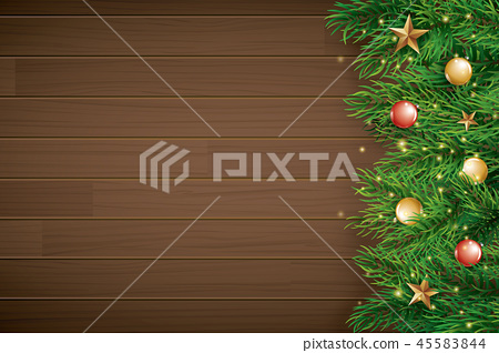Christmas with fir branch on brown wooden  45583844