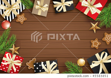 Christmas frame with copy space for text on wooden 45583851