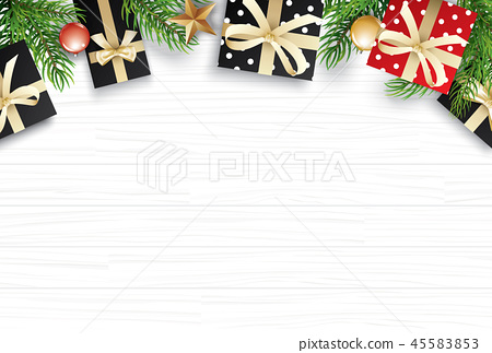 Christmas with copy space for text on white wooden 45583853