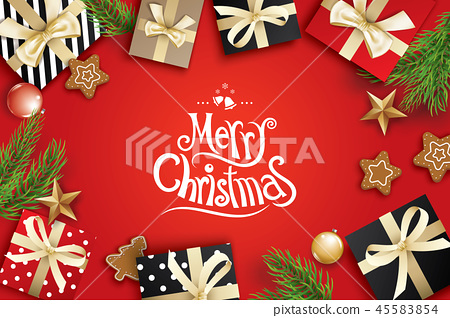 Merry christmas greeting card frame on red 45583854