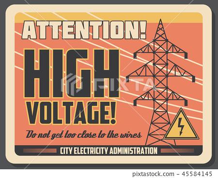 Attention retro banner for high voltage precaution 45584145