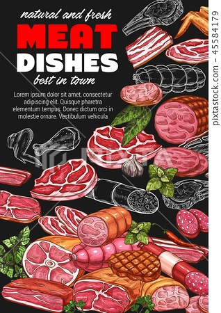 Butchery products, sketch poster with meat dishes 45584179