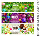 Healthcare color diet banner with natural vitamins 45584267