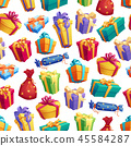 Gift boxes or presents with bow seamless pattern 45584287