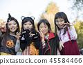 할로윈 이미지 가장 한 초등학생 소녀들 45584466