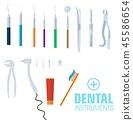 flat dental instruments set design concept background. Vector illustration  45586654