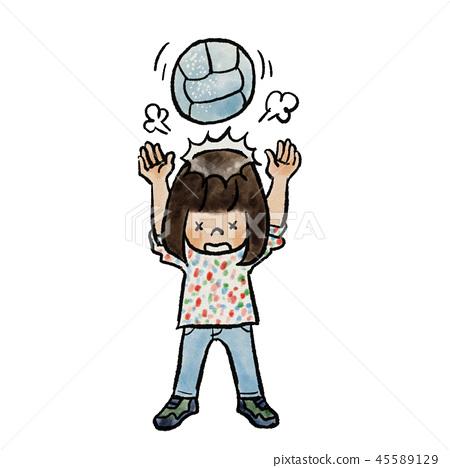 Children heading with dodgeball 45589129