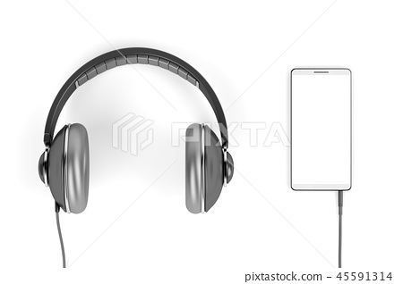 Big headphones and smartphone on white background 45591314