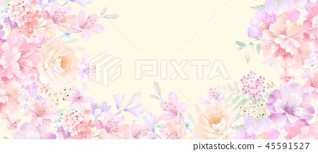 優雅的玫瑰花和牡丹花花卉 45591527
