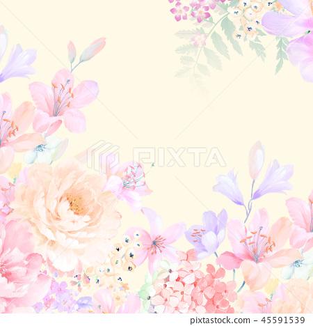 優雅的玫瑰花和牡丹花花卉 45591539