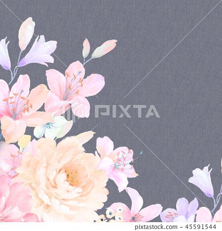 ดอกกุหลาบที่สง่างามและดอกไม้ดอกโบตั๋น 45591544
