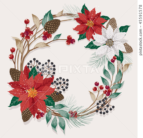 Vector illustration for a Christmas wreath  45591578