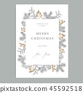 Merry Christmas, Happy New Year vintage floral greeting card, invitation. Holiday frame with 45592518