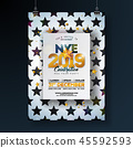 2018 New Year Party Celebration Poster Template Illustration with Shiny Gold Number on Abstract 45592593