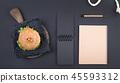 clock, man, burger 45593312