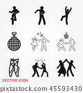 Dancing vector icon. Illustration on background, people dance 45593430