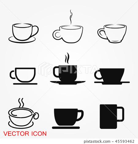 Coffee cup icon. Coffee drink vector symbol stock web illustration. 45593462