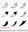 Chili pepper vector icon, logo illustration on background, pepper icon 45593493
