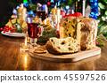 Christmas panettone cake with raisins and fruits 45597526