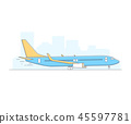 Airplane on airport background 45597781