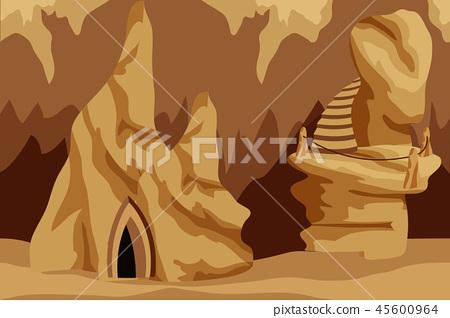 Fantasy Cave Background For Cartoon Game Asset Stock Illustration 45600964 Pixta