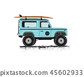 Vintage hand drawn surf car. Retro transportation with surfboard. Old style sufing automobile 45602933
