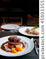 Beef Filet mignon steak red wine gravy sauce. 45603355