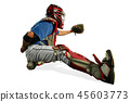 one caucasian man baseball player playing in studio silhouette isolated on white background 45603773