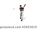 one caucasian man baseball player playing in studio 45603819