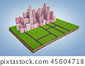 3d rendering of a model of a land plot with a cluster of tall business buildings standing near an 45604718