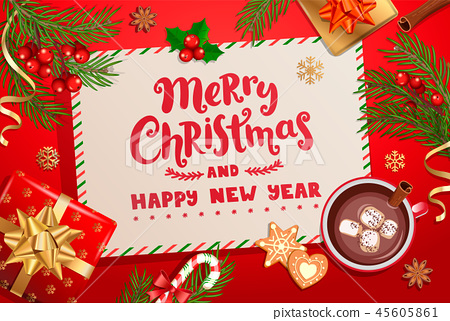 Merry Christmas, New Year card for winter holidays 45605861