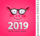 Greeting card for 2019 new year with pig face 45605911