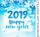 Happy 2019 New Year holidays geeting card. Raster. 45605917