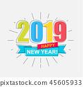 2019 Happy New Year card. 45605933