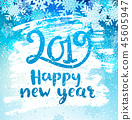 Happy 2019 New Year holidays geeting card. 45605947