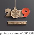 Modern Happy New Year 2019 paper design. 45605950