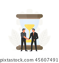 Business time management illustration. Businessmen make a contract before hourglass. Small people 45607491