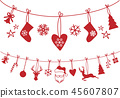 Christmas stocking, decoration, vector 45607807