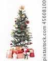 Decorated Christmas tree with gift wrapped present 45608100