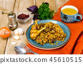 Blue plate with pilaf and meat 45610515