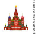 Moscow St Basil Cathedral Vector Illustration 45610831