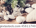 Closeup of toy bell and christmas decor 45611740