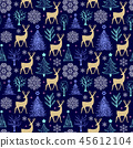 pattern with trees,deers and snowflakes 45612104