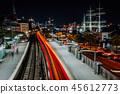 Landungsbruecken in Hamburg at night. Amazing light trails from the train movement. Urban cityscape 45612773